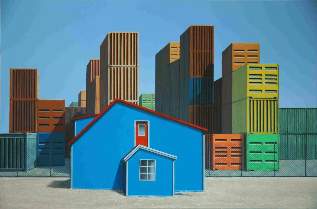 Une maison bleue - 97 x 146cm - 2016